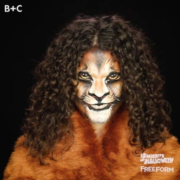Detailed lion's makeup transformation