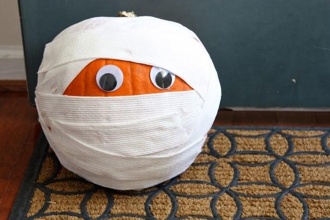 Easy mummy wrapped pumpkin