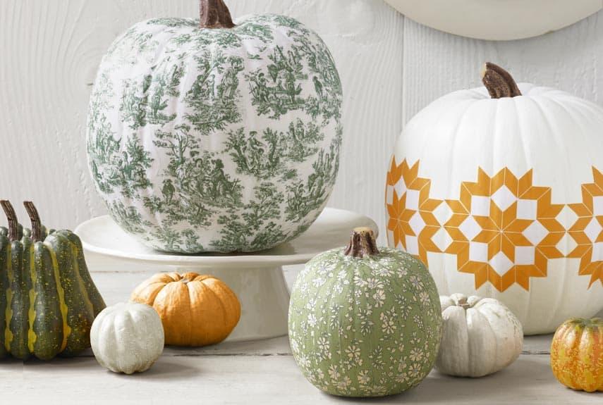 Fabric decoupage pumpkins
