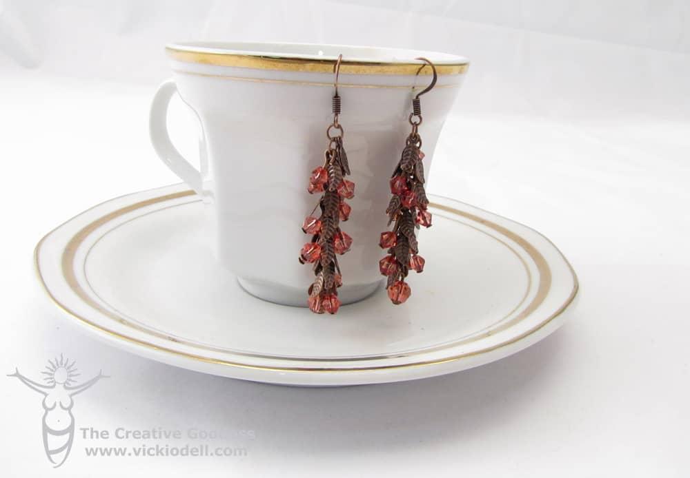 Fall leaf copper earrings