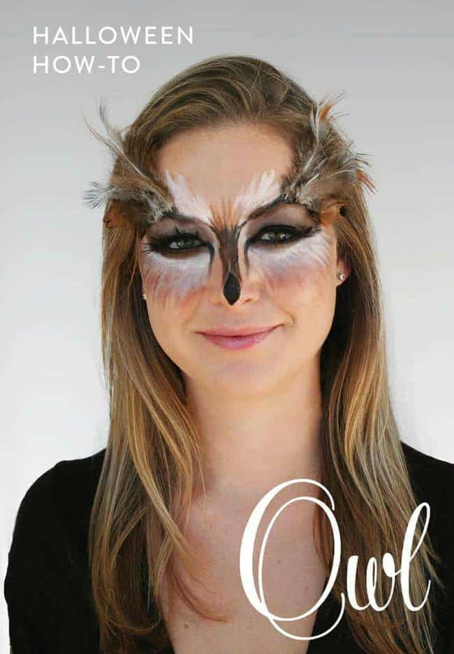 Feather embellished owl makeup tutorial