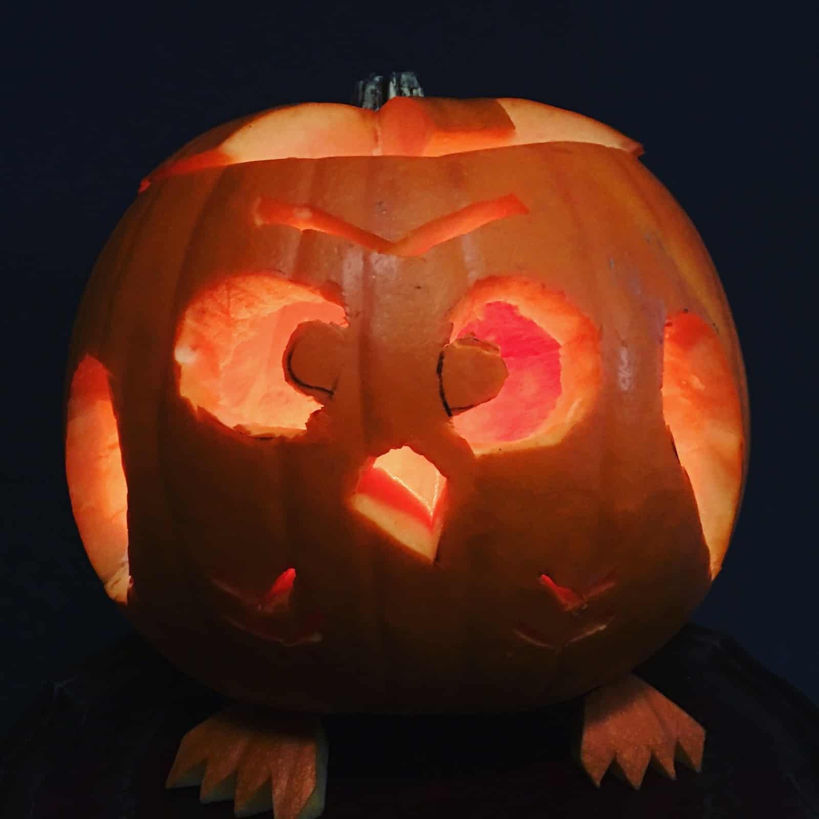 Kid-friendly owl shaped jack-o-lantern