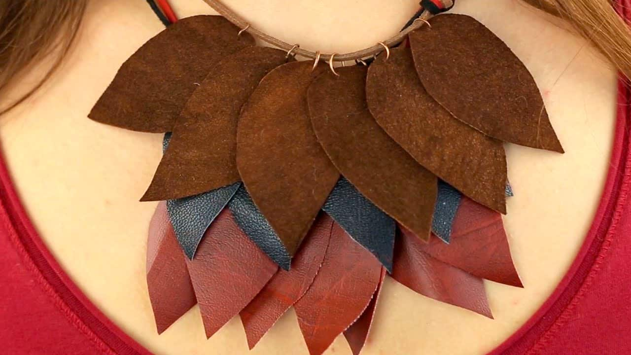 Leather leaf layered necklace