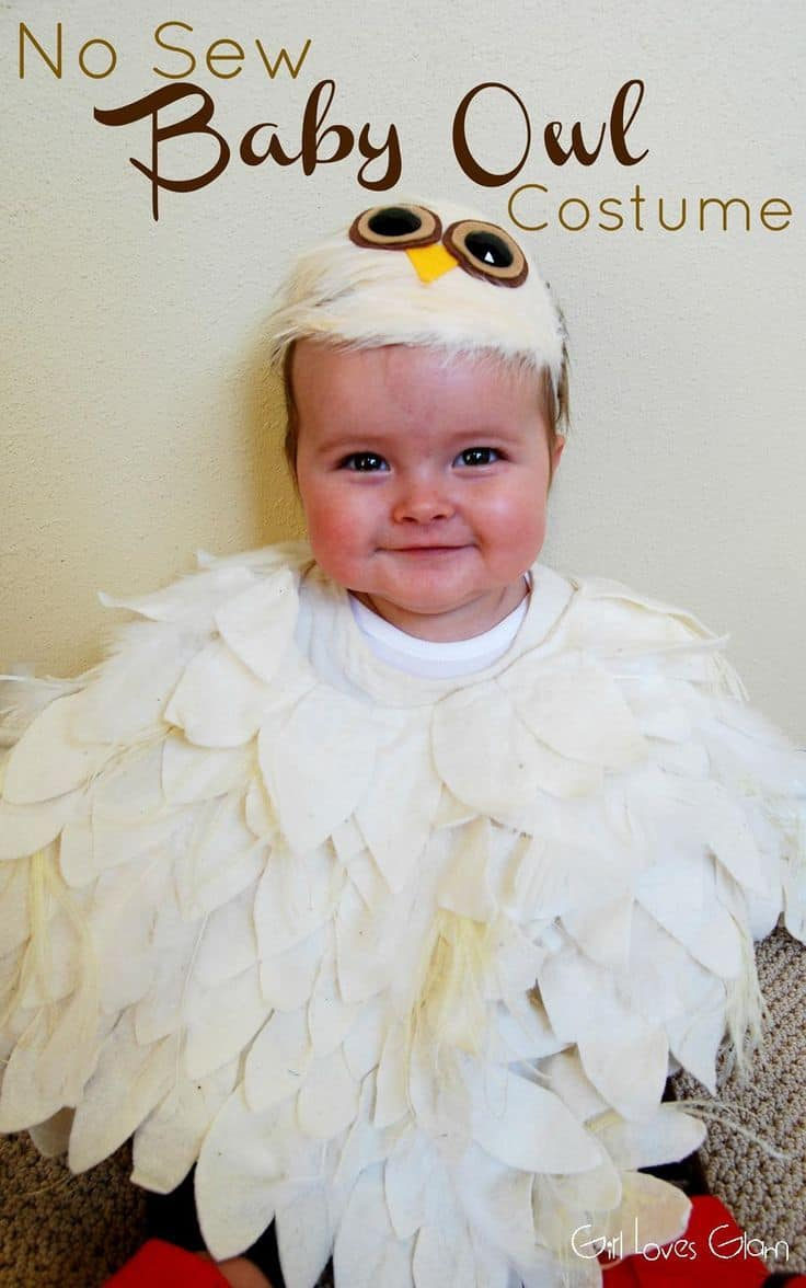 No sew baby owl costume 15 DIY Halloween Costumes for Babies