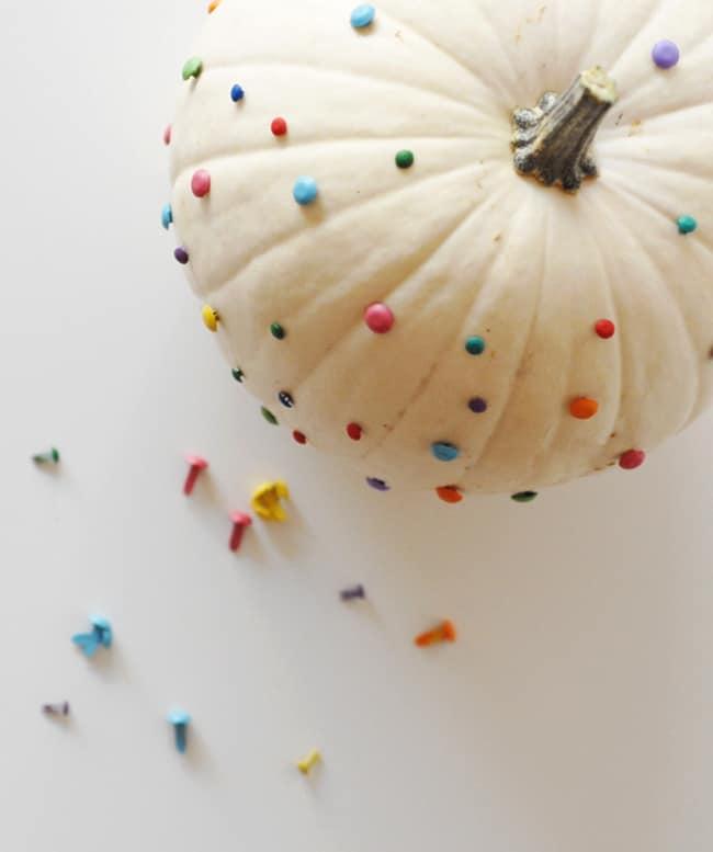Painted brad pin no-carve pumpkin