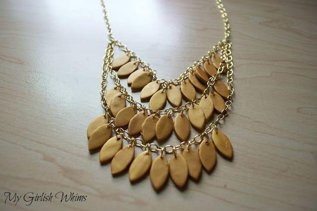 Polymer clay leaf necklace