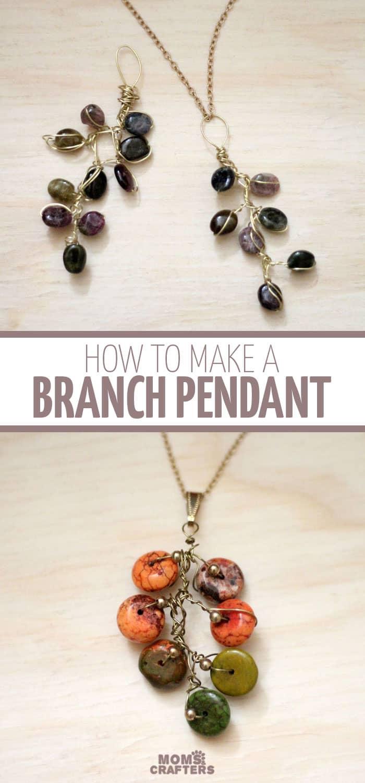 Pretty fall branch necklace pendant