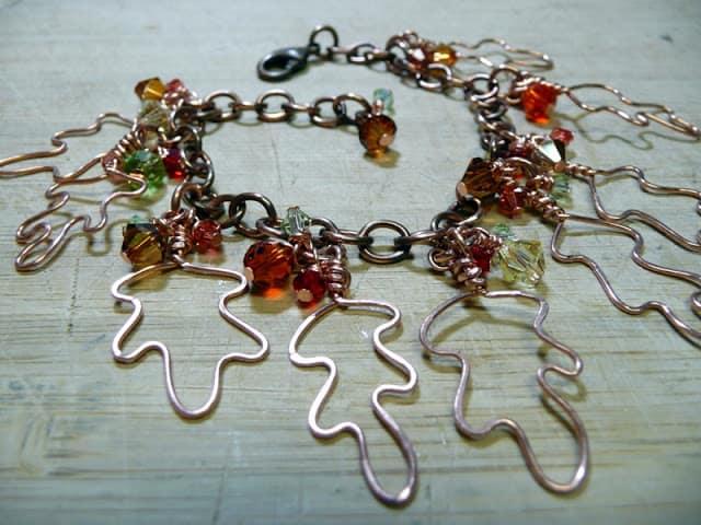 Pretty wire falling leaf bracelet