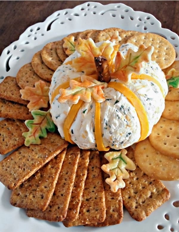 Pumpkin cheddar and chive cheese ball