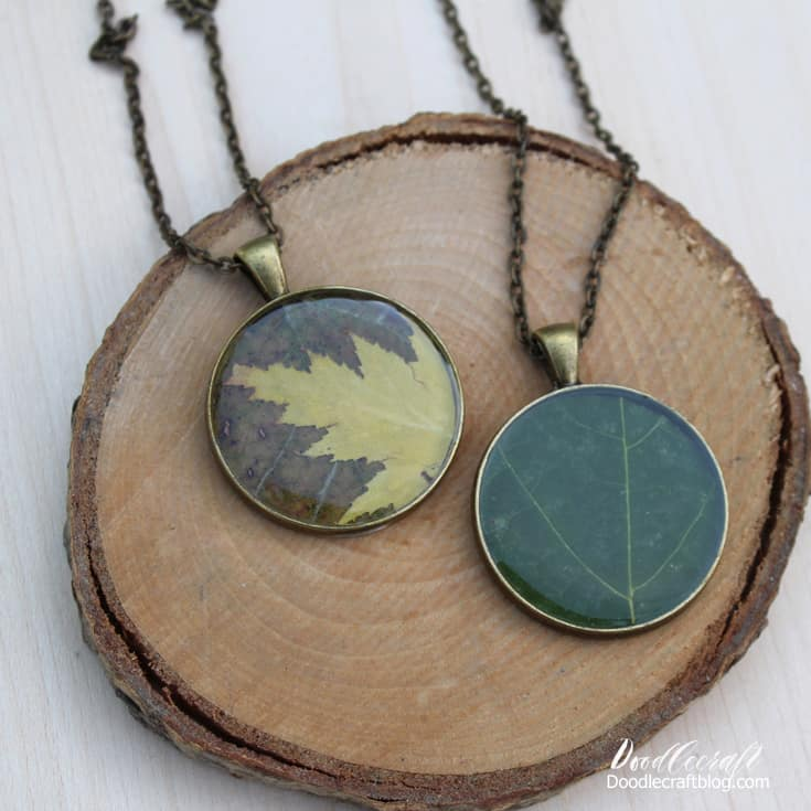Resin and real autumn leaf pendant