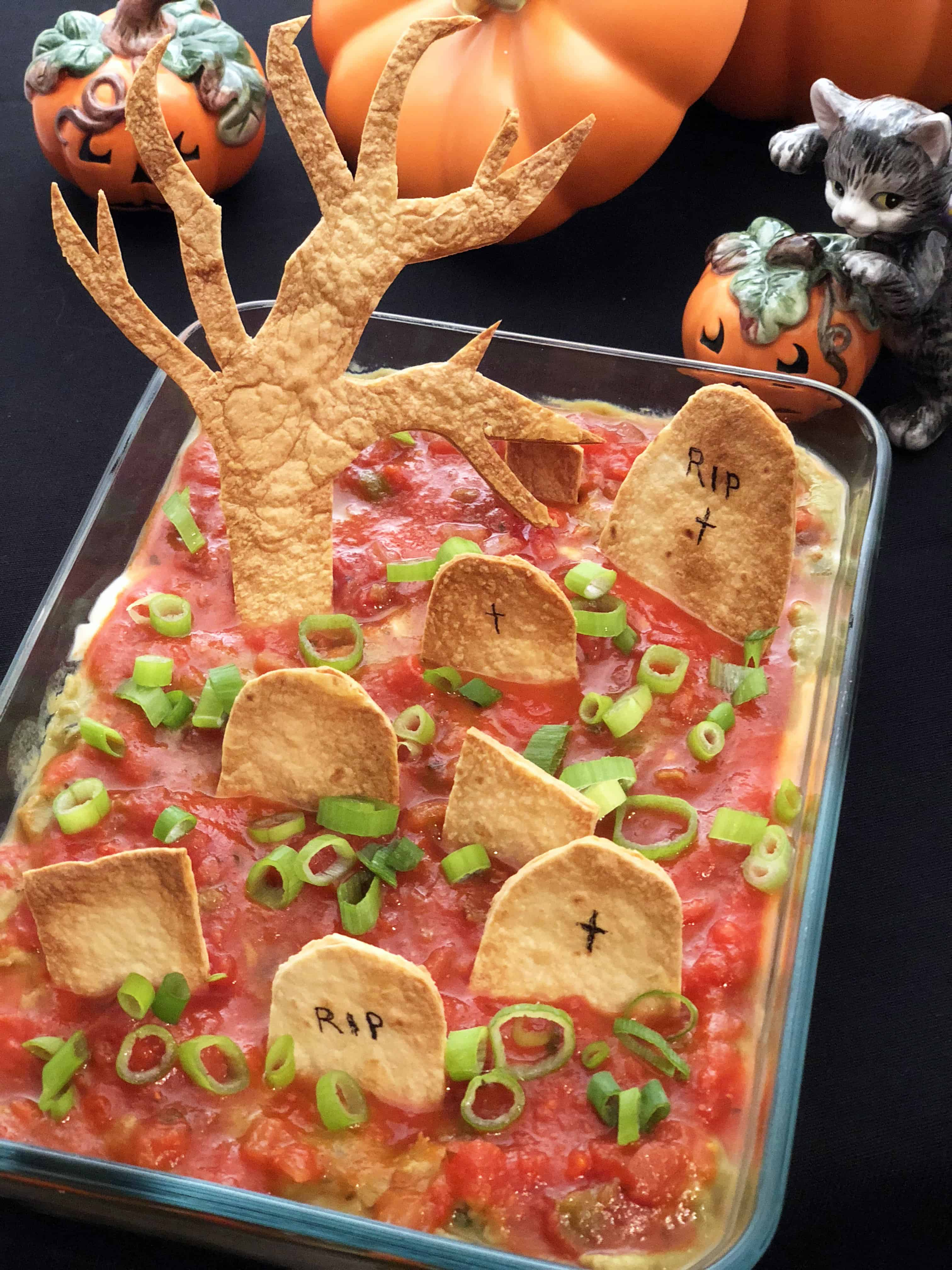 Spooky Halloween graveyard taco dip 15 Fantastic Halloween Party Food Ideas