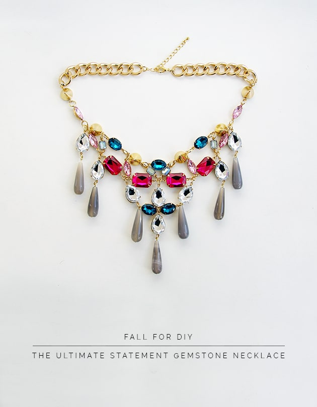 Statement gemstone necklace to wear with fall sweaters