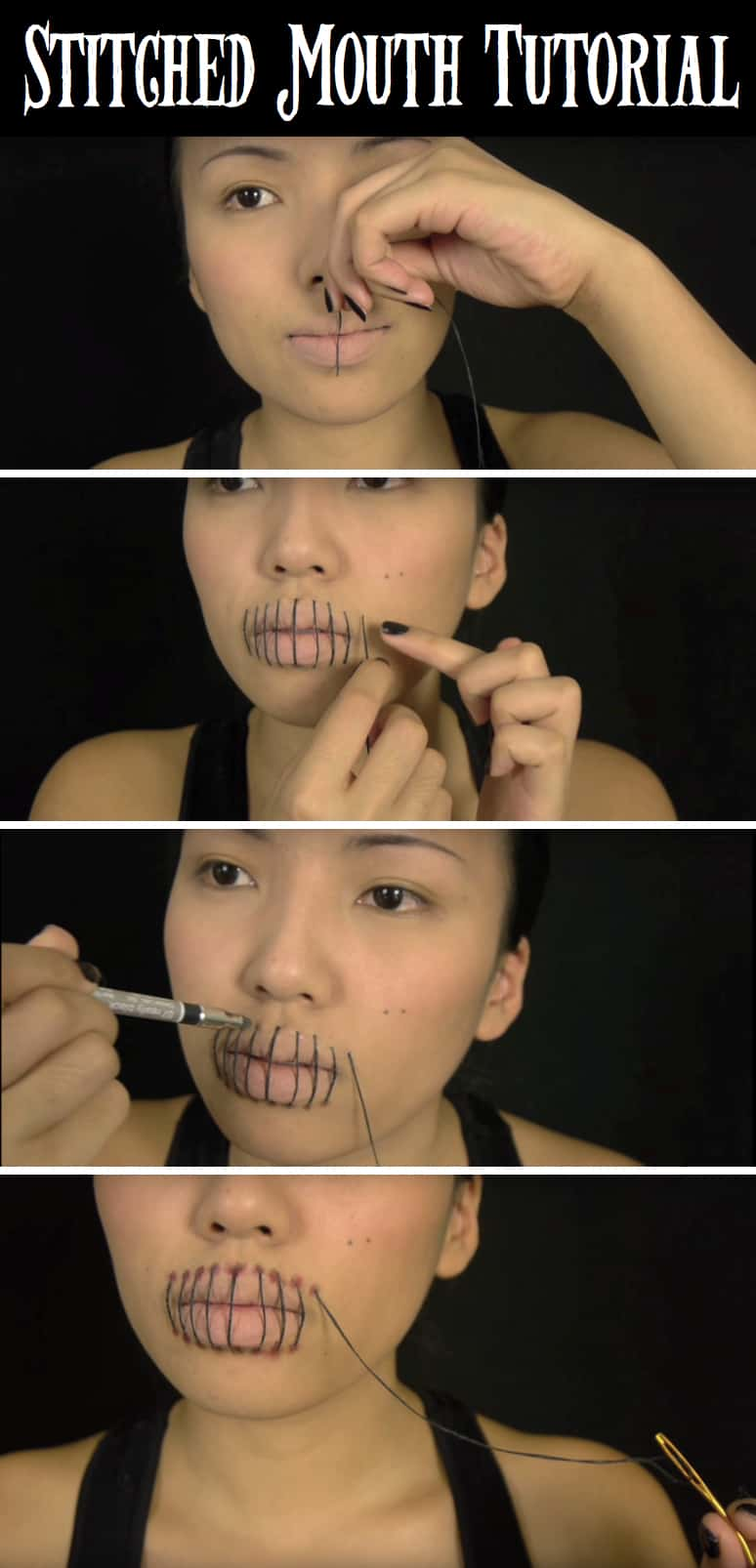 Stitched mouth makeup tutorial