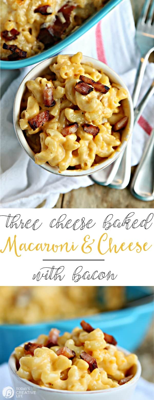 3-cheese baked mac and cheese with bacon