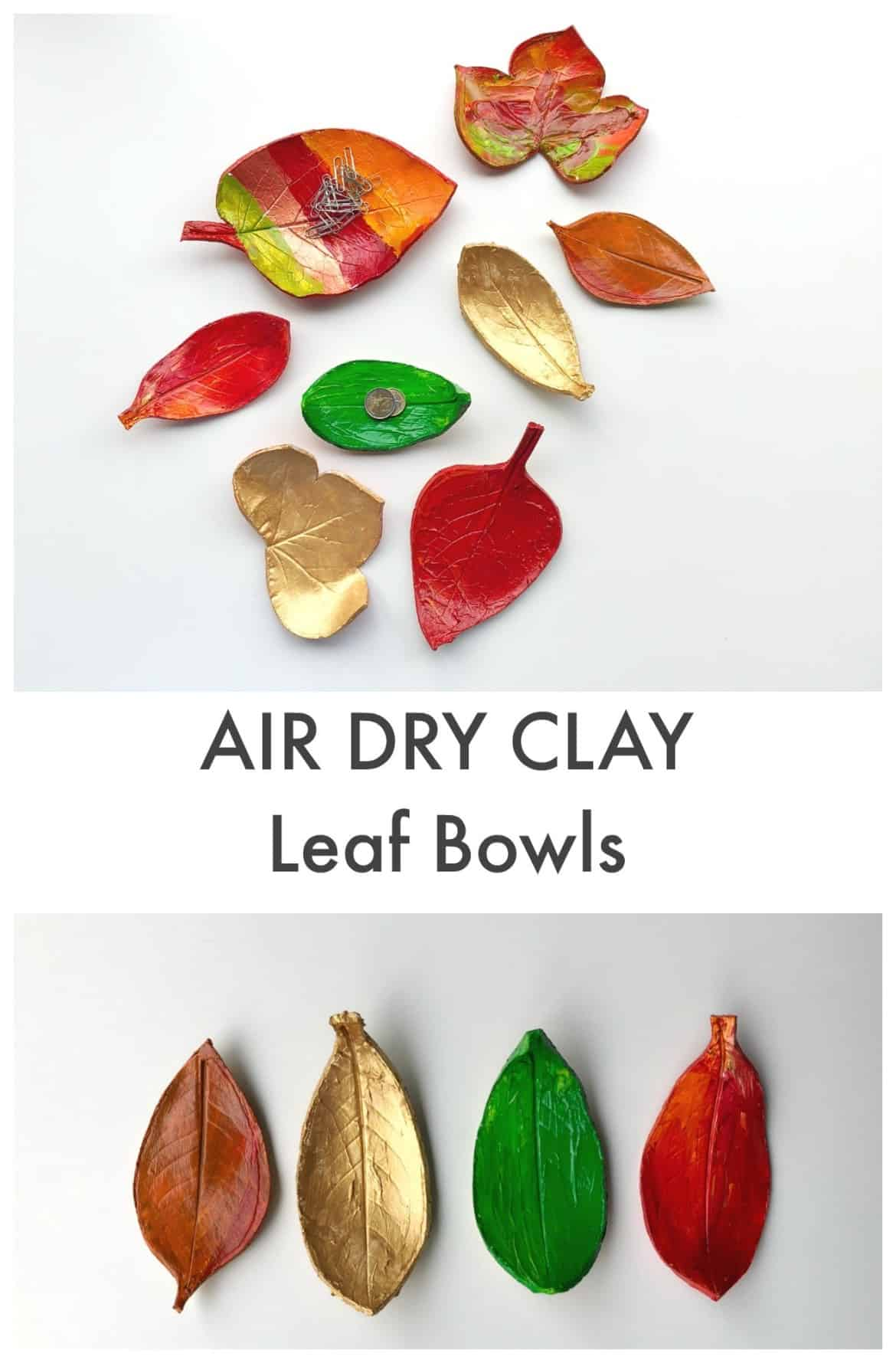 Air dry clay leaf bowls