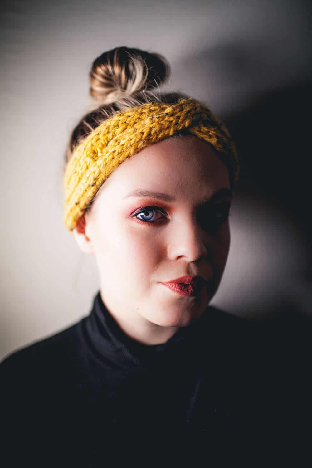 Basic knitted crossover headband