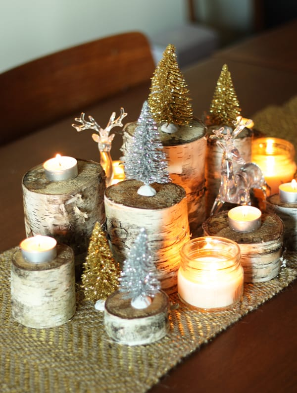 Beautiful birch holiday centrepiece