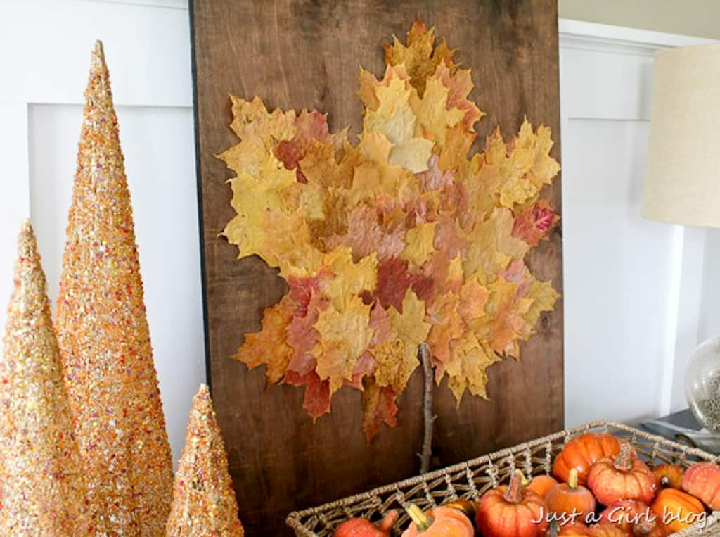 Beautiful wooden leaf art