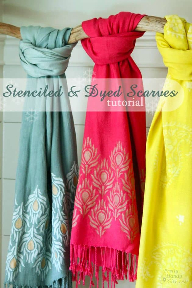 Beautifuled stencilled and dyed scarves