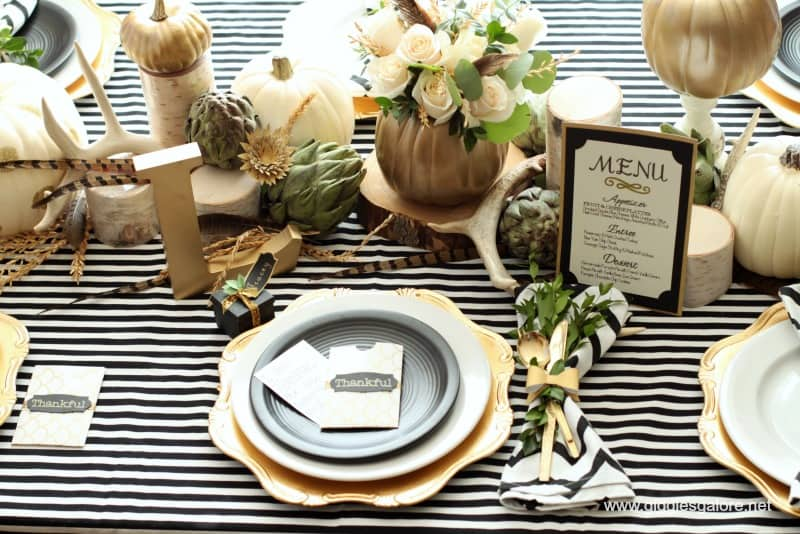 Black, white, and gold Thanksgiving table