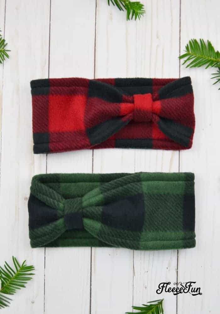 Bow style fleece headband ear warmer