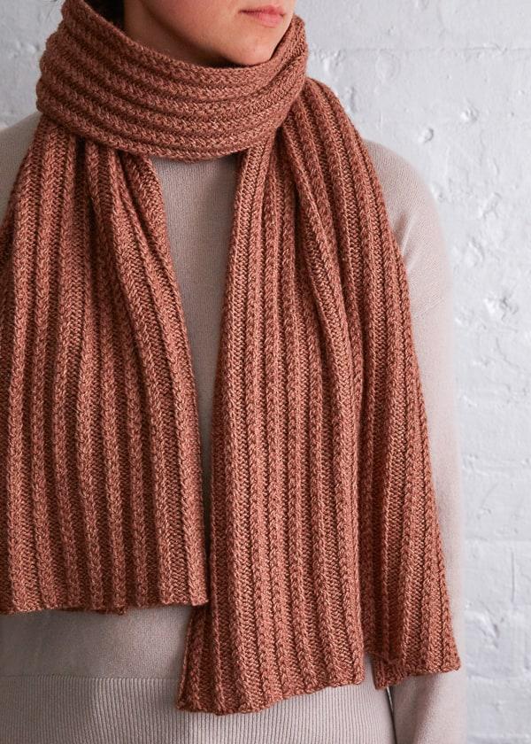 Braided rib knit scarf