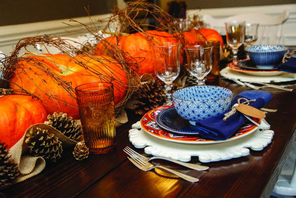 Branch wound pumpkins tablescape