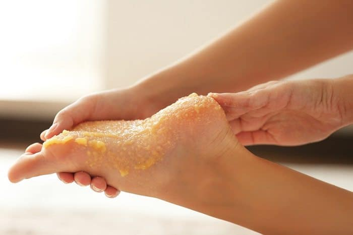 Brown sugar and olive oil foot scrub