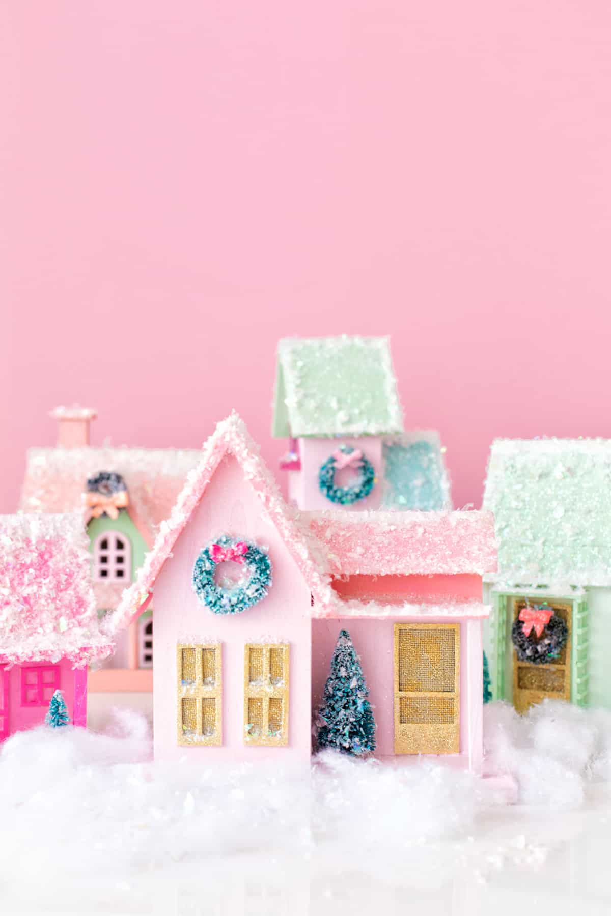 Colourful DIY pastel Christmas village