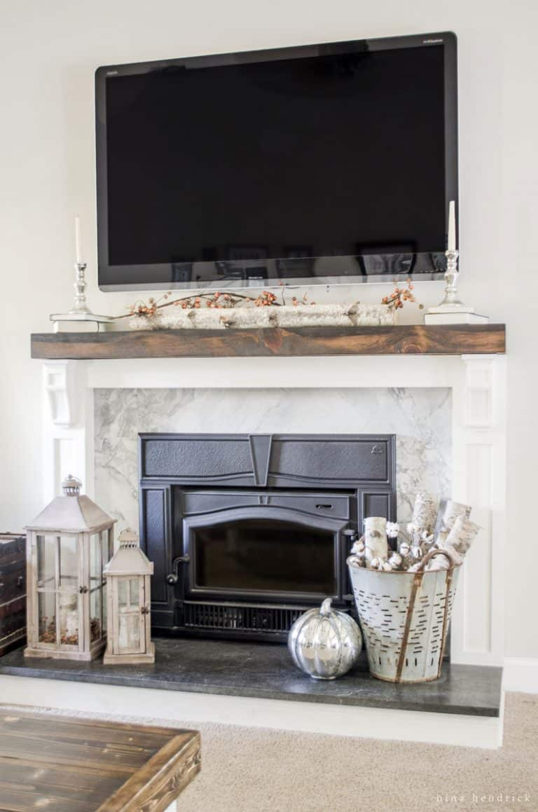 Covered brick fireplace update