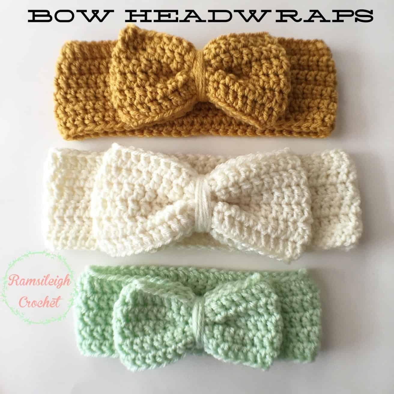 Crocheted big bow head wrap