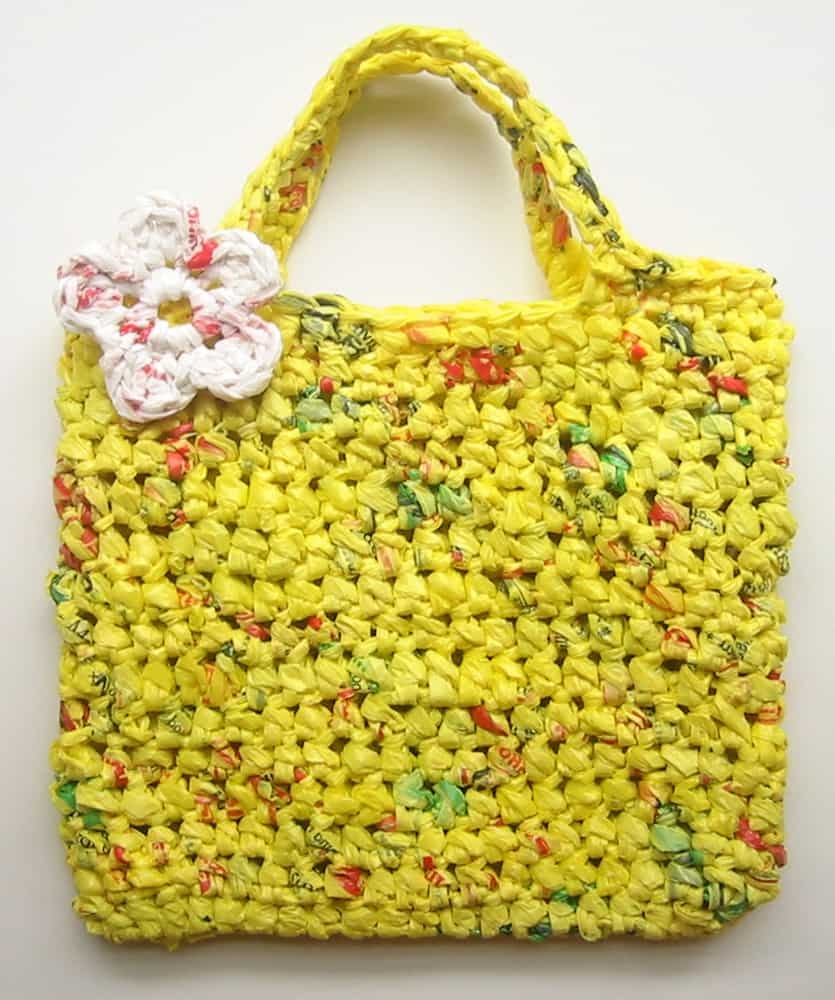 Crocheted plarn eco-friendly grocery bag