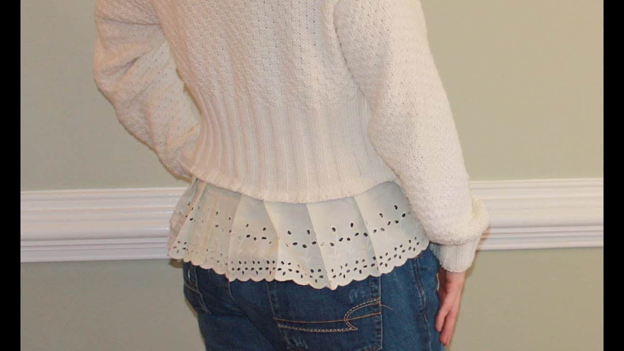 Cute lace trim sweater refashion