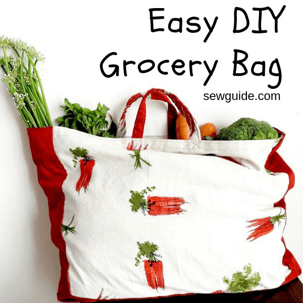 DIY canvas contrasting grocery bag