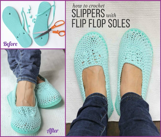 DIY crochet slipper with a flip flop sole