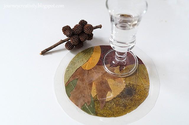 DIY fall leaf coasters