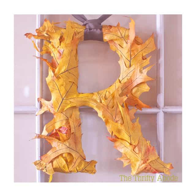 DIY fall leaf hanging letter