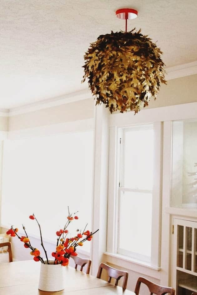 DIY fallen leaf lantern light