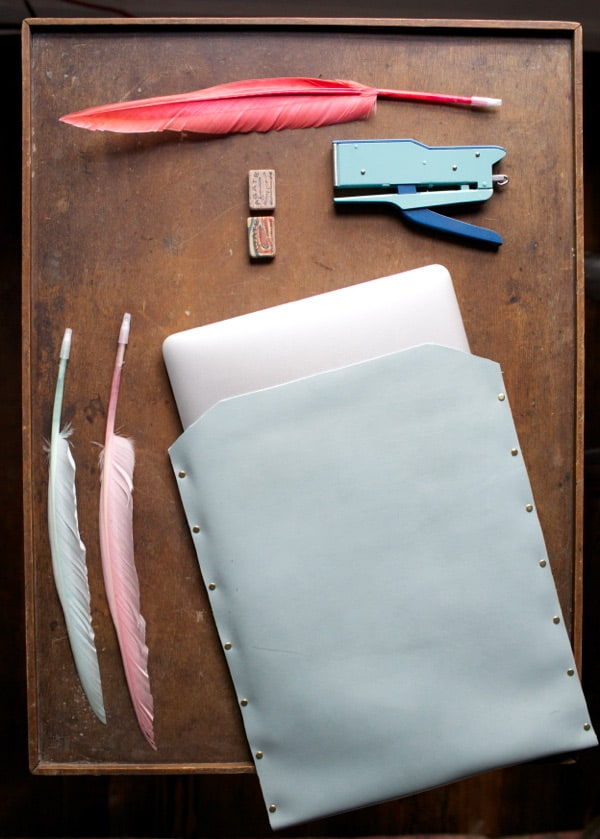 DIY leather laptop sleeve