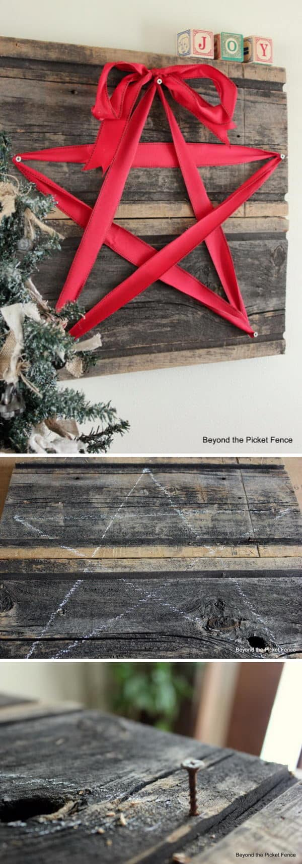DIY rustic ribbon and wood Christmas star
