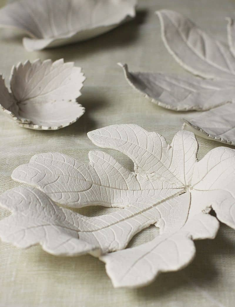 DIY texture printed clay leaf bowls