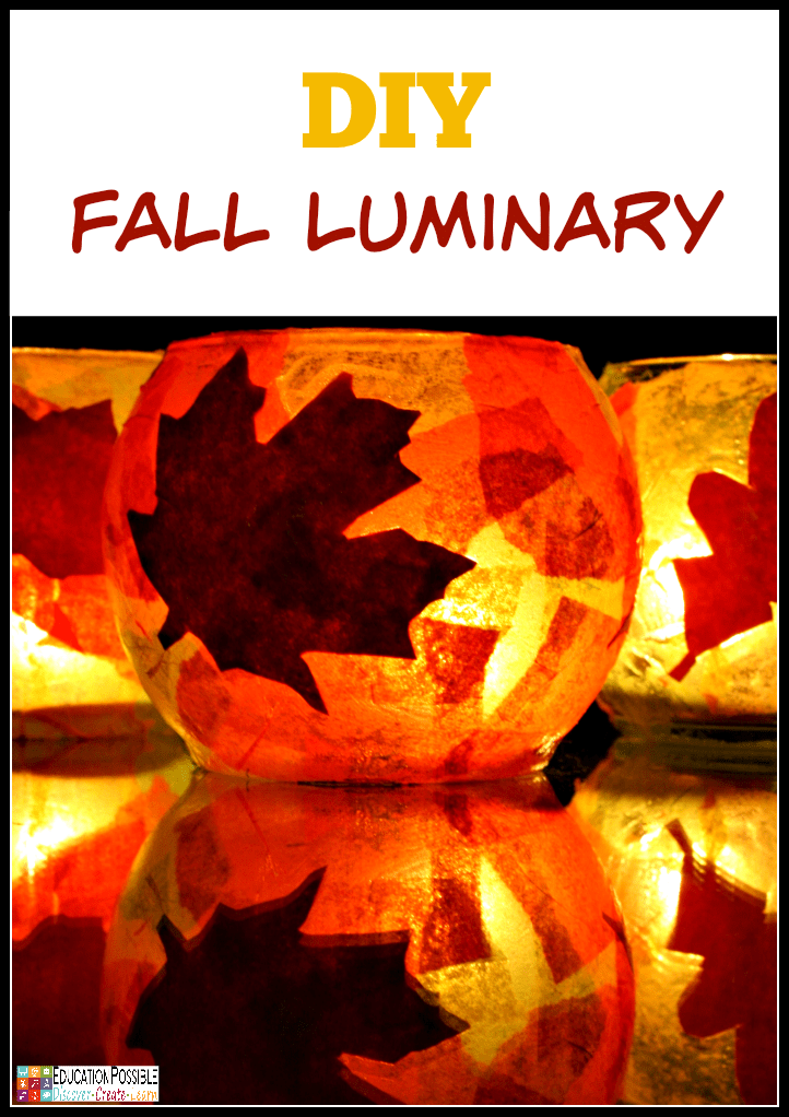DIY tissue paper and fall leaf luminary