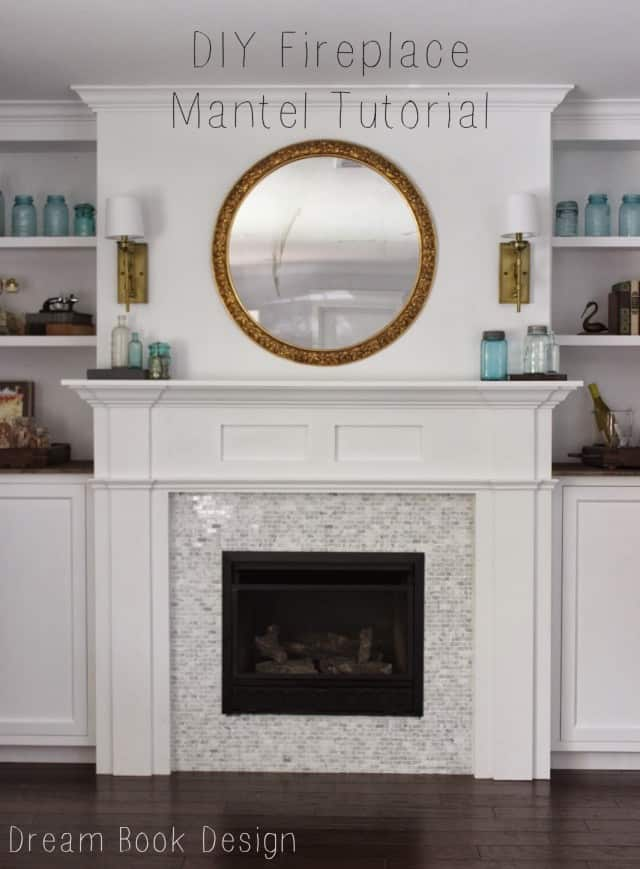 DIY white wood and tile fireplace surround and mantel