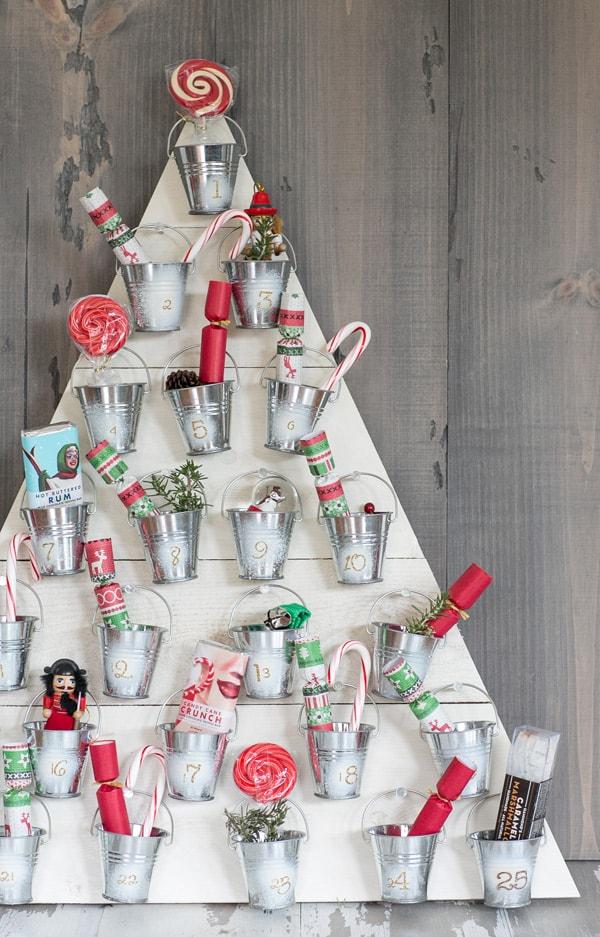 DIY wooden mini bucket advent calendar