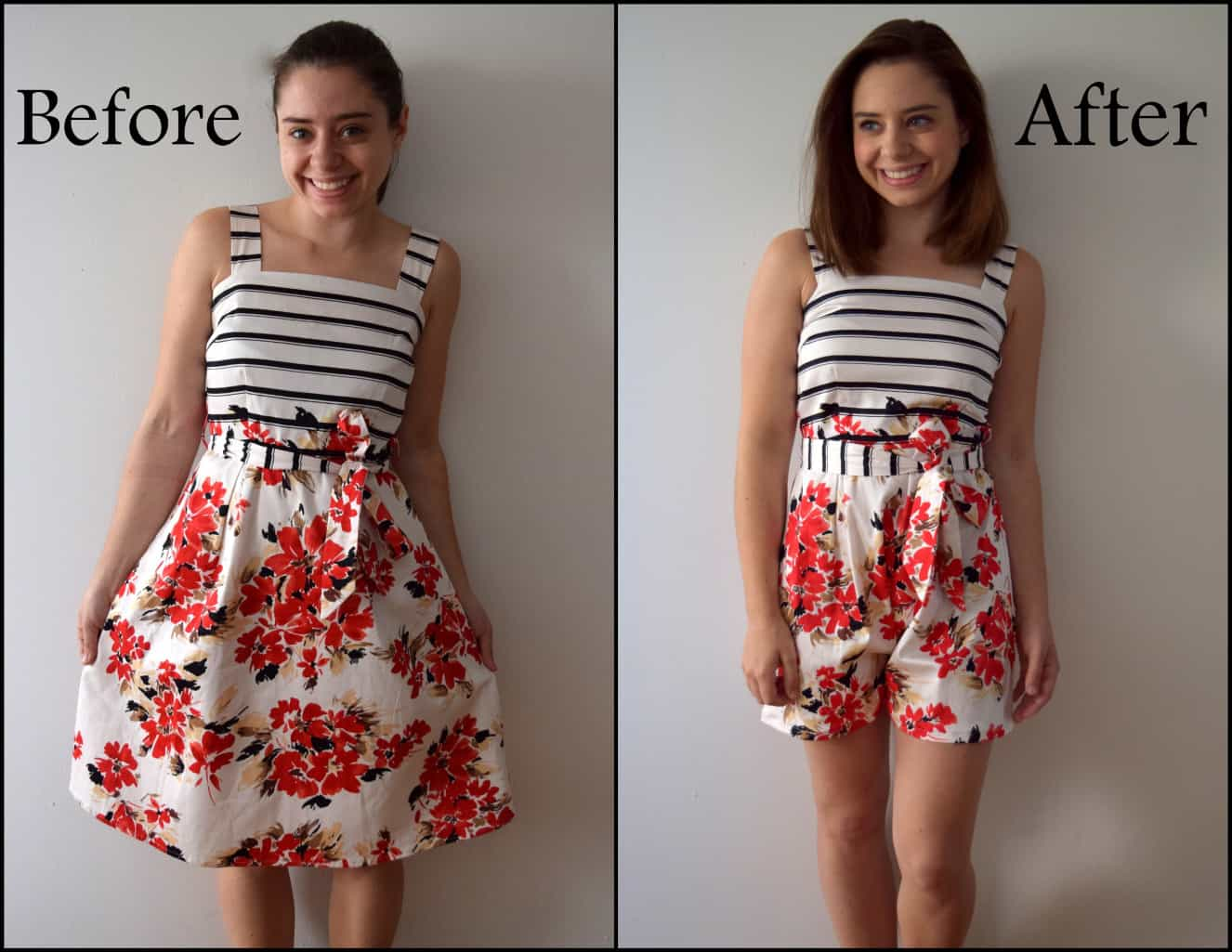 Dress to romper refashion