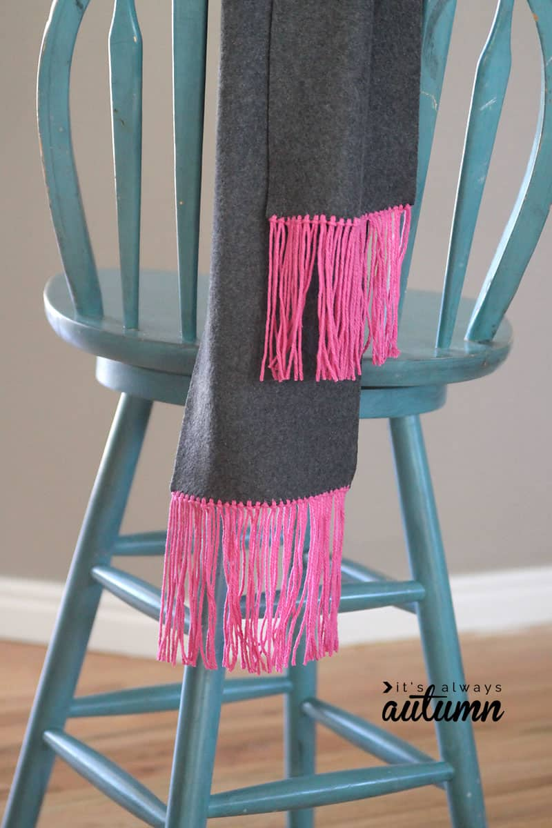 Easy no-sew fleece and fringe scarf