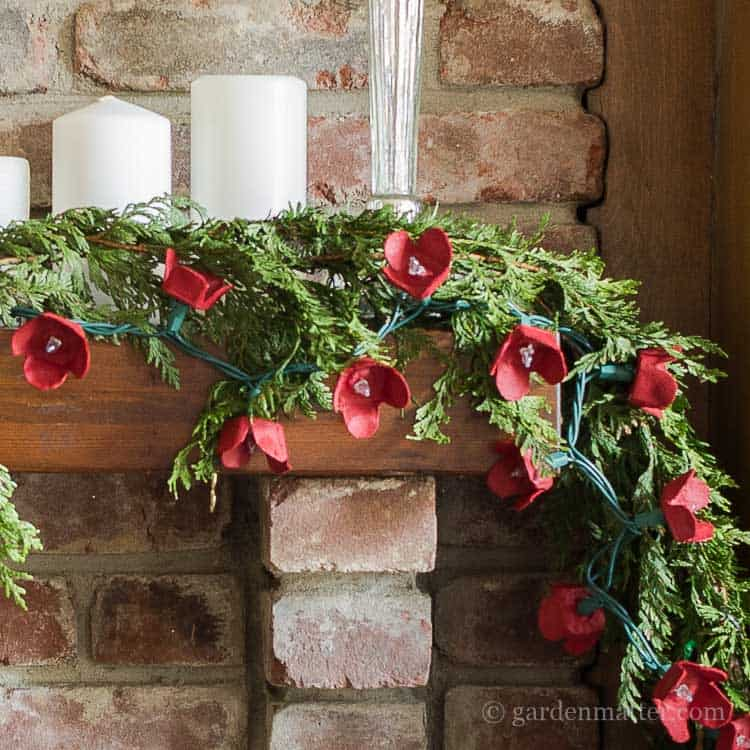 Egg carton Christmas flower and greenery garland