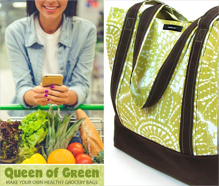Fabric colour blocked grovery bag with durable handles