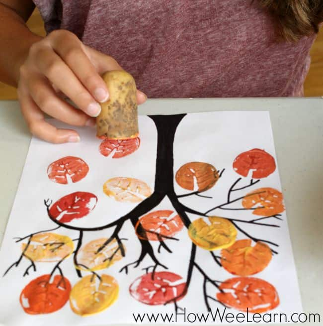 Fall tree with potato stamp leaves