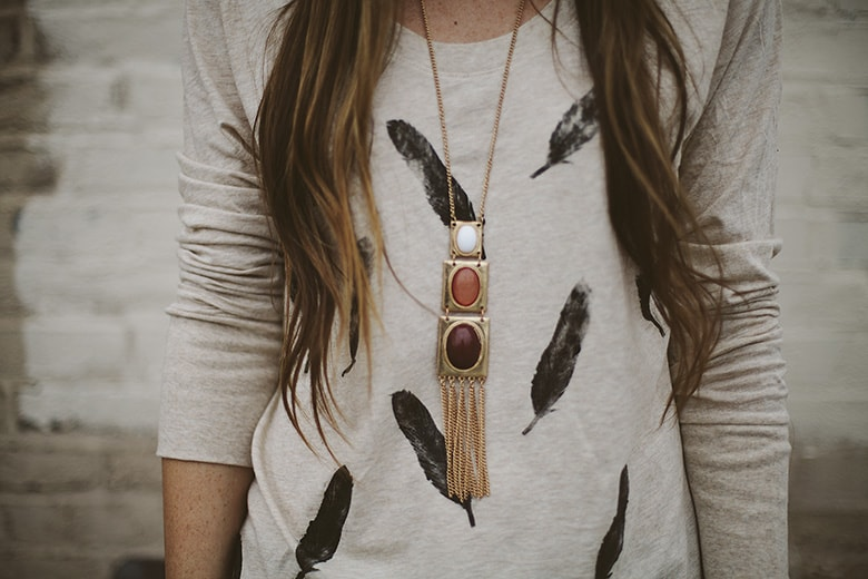 Feather stamp tee refashion